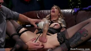 Tight tied shemale sub gets anal fucked